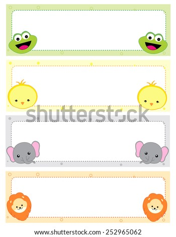 Cute animal kids name tags with beautiful animal faces on corners - stock vector