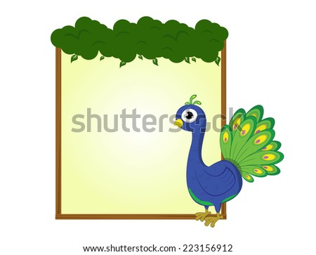cute animal peacock bird blank sign and symbol vector - stock vector