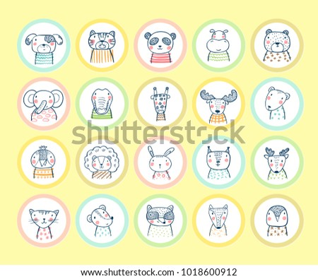Cute animal round stickers set hand drawn doodle cartoon funny wild animals pets and