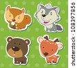cute animal stickers with bear, wolf, squirrel, and deer. - stock vector