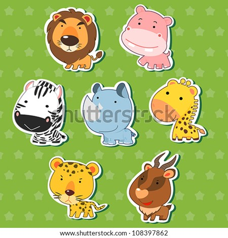 cute animal stickers with lion, hippo, zebra, rhinoceros, giraffe, cheetah, and antelope. - stock vector