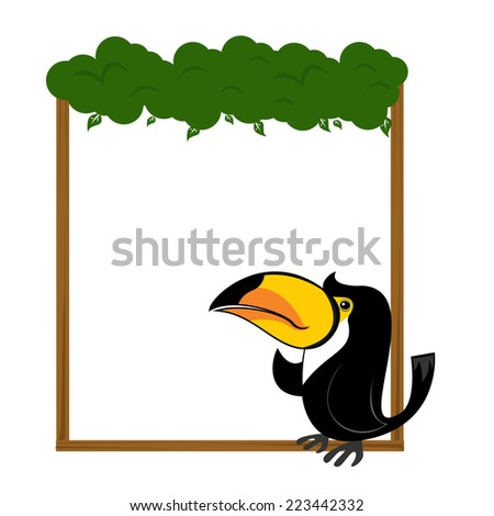 cute animal toucan bird blank sign and symbol vector - stock vector