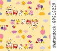cute animal train kids pattern - stock vector