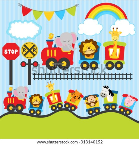 Cute animal trains - stock vector
