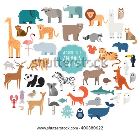 Cute Animal Vector illustration Icon Set isolated on a white background. Collection of cute cartoon animals,birds and sea creatures. - stock vector