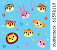 cute animal wallpaper - stock vector