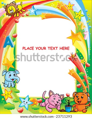 Cute animal with colorful background - stock vector
