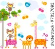 cute animals background for cards - stock vector