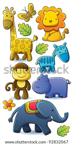 Cute Animals Collection - stock vector