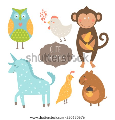 Cute animals collection. Vector illustration with owl, hen, monkey,  unicorn, quail and vole. Love animal isolated on white background - stock vector