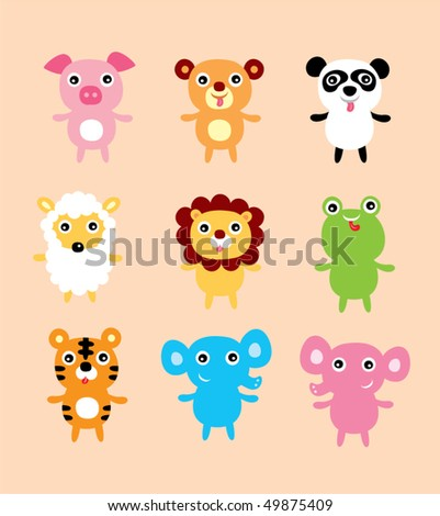 cute animals doodle - stock vector