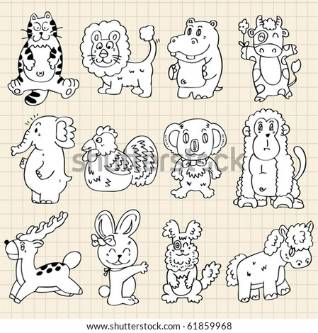 cute animals draw - stock vector