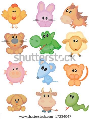 Cute animals, funny horoscope. - stock vector