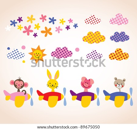 cute animals in airplanes kids design elements set - stock vector