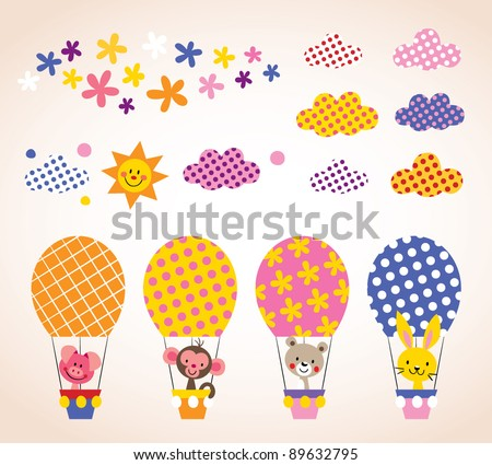 cute animals in hot air balloons kids design elements set - stock vector