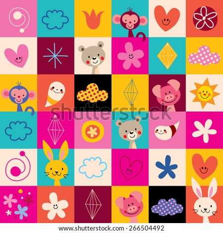 cute animals kids pattern - stock vector