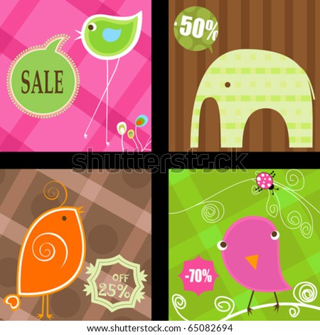 cute animals labels, various shapes and colors - stock vector