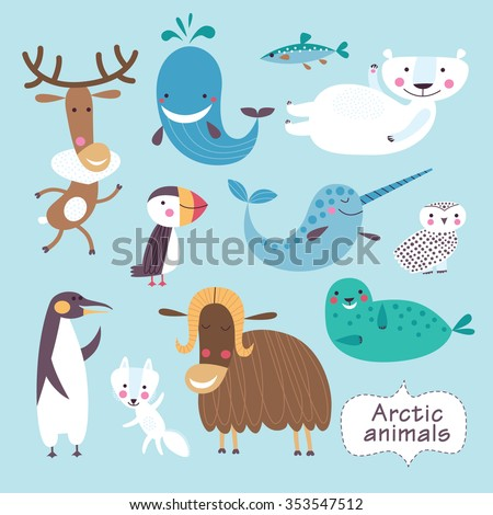 Cute animals of Arctic. Childish vector illustration of polar bear, penguin, puffin, snowy owl, narwhal, musk ox, whale, seal and arctic fox. - stock vector