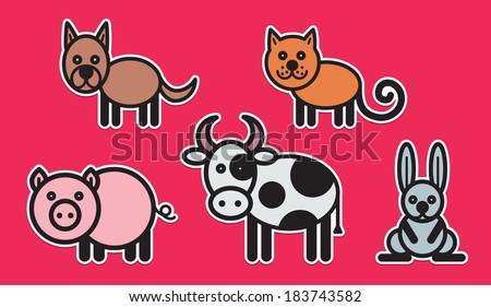 Cute animals set from typical domestic animals - stock vector