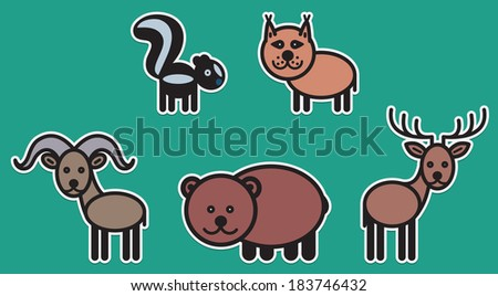 Cute animals set from typical North American animals - stock vector