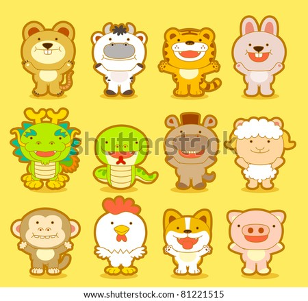 Cute animals & twelve zodiac - stock vector