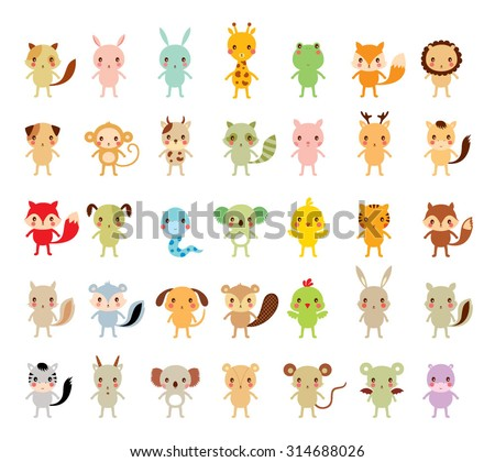 cute animals vector collection - stock vector