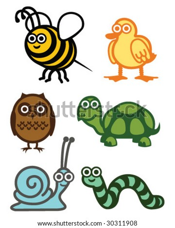 Cute Animals - Vector Illustration - stock vector