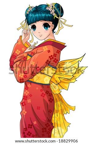 Cute anime girl in kimono - stock vector