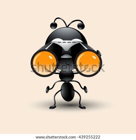 Cute Ant cartoon with binocular - stock vector