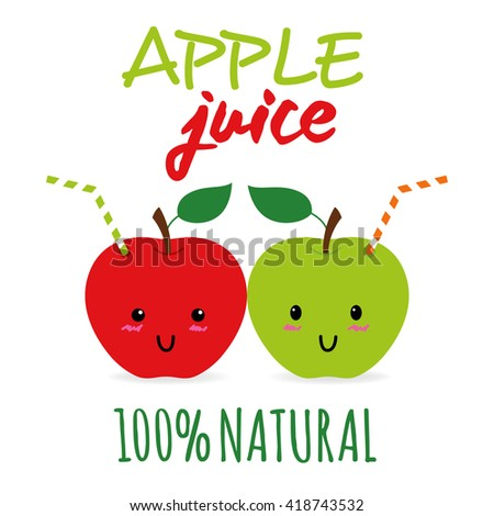 Cute apples as beverage with straw. Fresh juice concept illustration vector. - stock vector