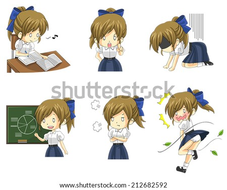Cute Asian Thai schoolgirl student in uniform in various activities, expression and emotion icon set 3, create by vector  - stock vector