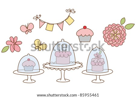 cute assortment of sweet treat illustrations. Great for birthdays and parties.
