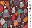 Cute autumn floral seamless pattern with owls - stock vector