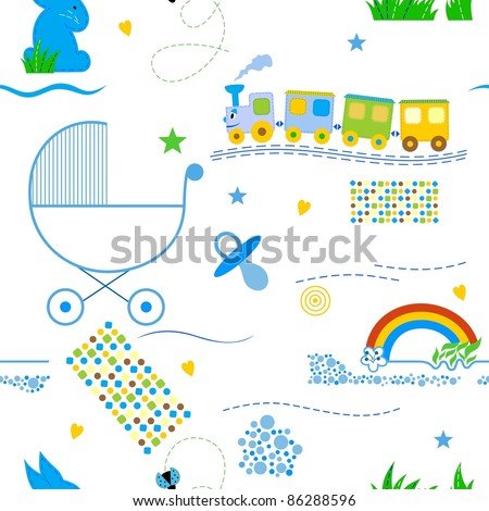 Cute babies seamless pattern for the boy. - stock vector