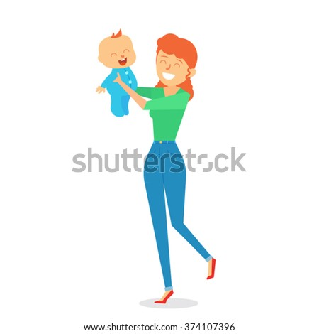 Cute Baby and Mother Character Design - stock vector