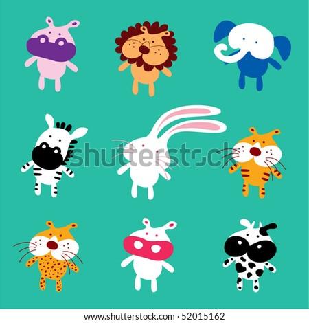 cute baby animal doodles - stock vector