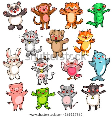 Cute baby animals - stock vector