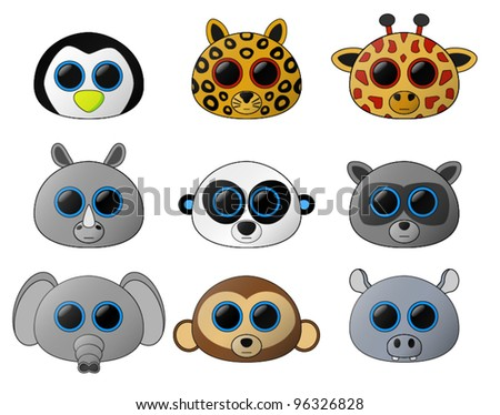 Cute Baby Animals. A set of 9 cute baby animals (includes a Penguin, Leopard, Giraffe, Rhino, Panda, Raccoon, Elephant, Monkey and Hippo. This image contains transparencies. File saved as EPS v 10. - stock vector