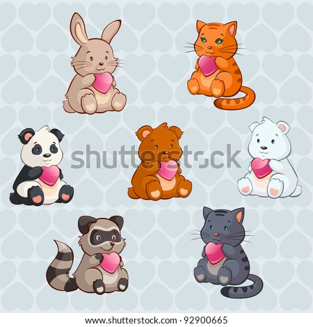 Cute Baby Animals holding Hearts - valentine day illustration in vector - stock vector