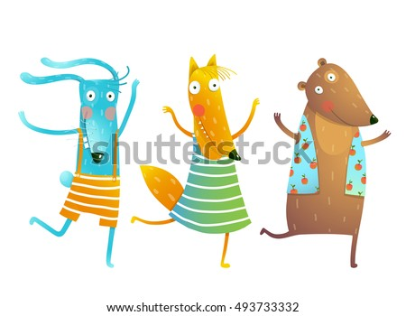 Cute Baby Animals Rabbit Fox Bear Dancing or Playing Kids Characters Wearing Clothes. Childish cartoon playing game animals cub in dress, shirts, clothes. Bunny, fox, bear Vector illustration.