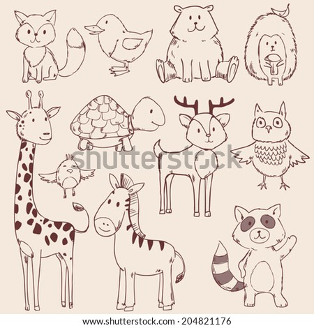 Cute baby animals set collection. Vector illustration - stock vector