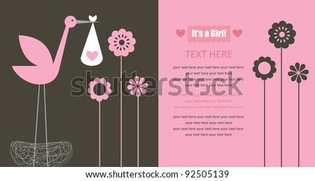 cute baby announcement card. vector illustration - stock vector