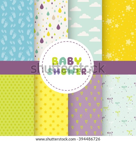 Cute Baby Background. Seamless Pattern. Vector Background. Colorful Background. - stock vector