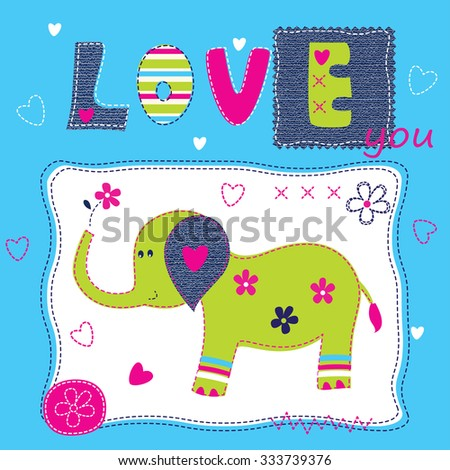 Cute baby background with elephant for baby shower, greeting card, t-shirt