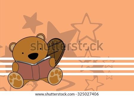 cute baby beaver reading cartoon in vector format very easy to edit - stock vector