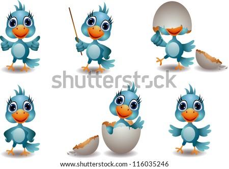cute baby blue bird cartoon set - stock vector
