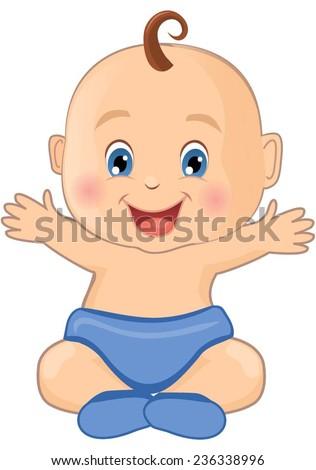 Cute baby boy - stock vector