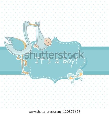 Cute baby boy announcement card with stork and child on polka dot blue background - stock vector