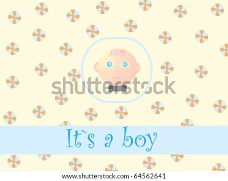 Cute baby boy card. - stock vector