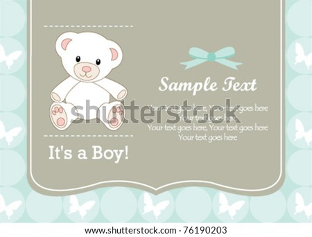 Cute baby boy shower invitation - stock vector